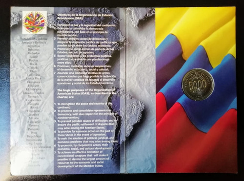 moneda 5.000 oea, colombia 1998
