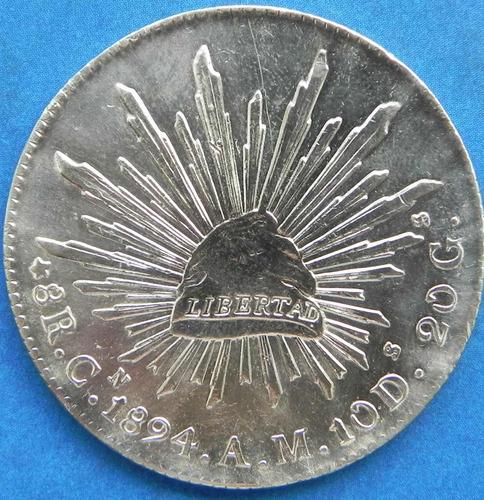 moneda 8 reales culiacan 1894 am    excelente