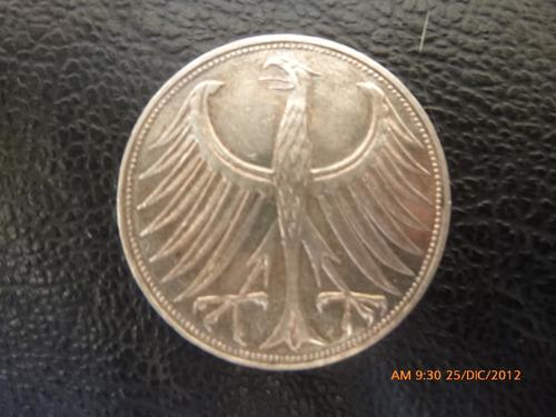 moneda alemania 5 marcos de plata 1969 ceca g (996z