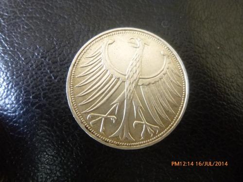 moneda alemania 5 marcos plata 0.500  1971 ceca  j (994z