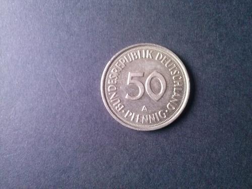 moneda alemania federal 50 pfening niquel 1990 ceca a (c28)