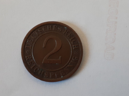 moneda alemania rep de weimar 2 reichspfenning 1924 (125z