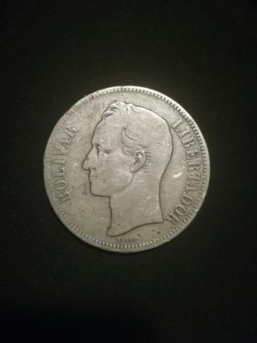 moneda antigua 25 gram plata lei 900, fuerte 5 bs 1903