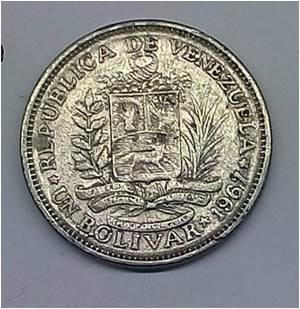 moneda antígua de colección  (venezuela) un bolívar 1967