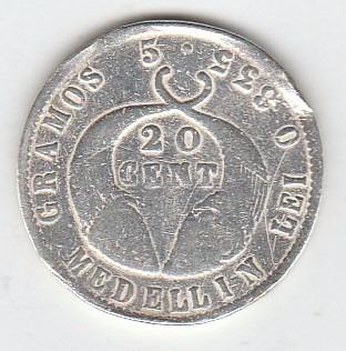 moneda antigua de colombia año 1882 de 20 centavos  en plata