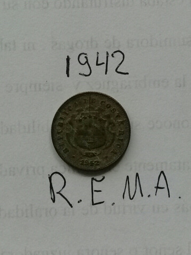 moneda antigua de costa rica 10 centimos 1942, rema.