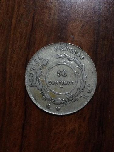 moneda antigua de costa rica resello a 50 centimos 1887 jmg