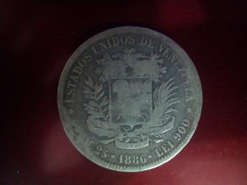 moneda antigua de plata fuerte 5 bolívares año 1.886 lei 900