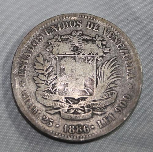moneda antigua de plata fuerte 5 bs. año 1886.