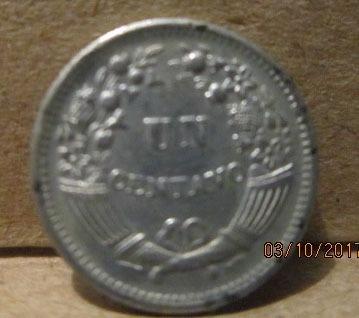 moneda antigua peruana de un centavo 1956