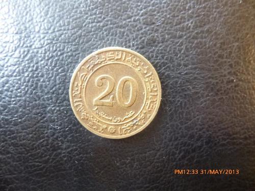 moneda argelia 20 santeem 1972 fao revolucion  (117z -