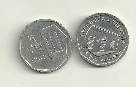 moneda argentina 10 australes año 1989
