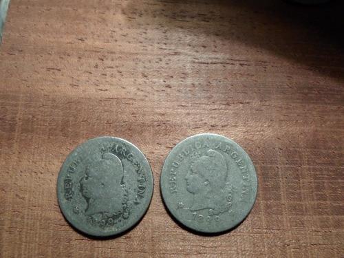 moneda argentina 10 centavos año 1899 niquel lote x 2