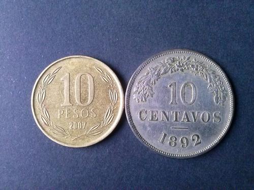moneda argentina 10 centavos niquel 1892 (c10)