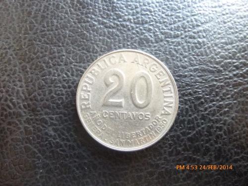 moneda argentina 20 centavos 1950 año del libertador (303z