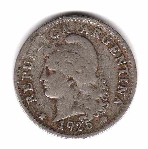 moneda argentina 5 centavos niquel regular 1924