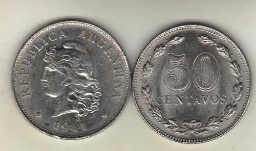 moneda argentina 50 centavos niquel regular 1941