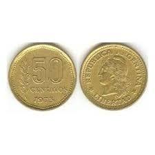 moneda argentina 50 centavos pesos ley regular