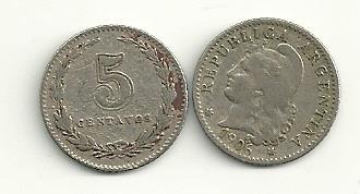 moneda argentina niquel 5 centavos año 1906 buena