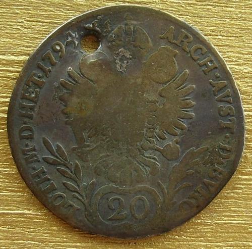 moneda austria de 20 kreuzes de 1794 de plata, r a r a