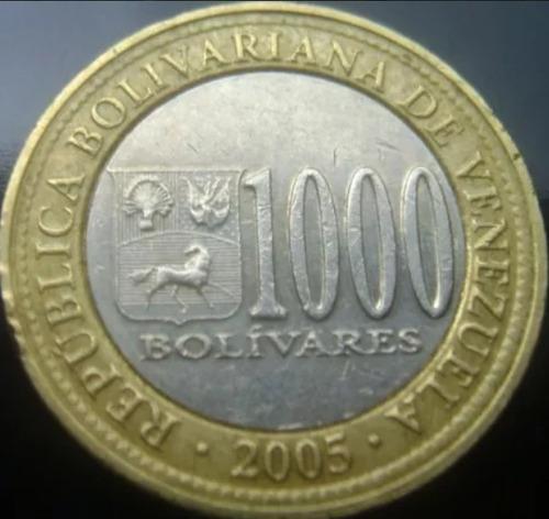 moneda bimetalica de mil año 2005 doble cuello