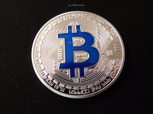 moneda bitcoin coin color plata letra en azul