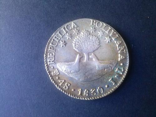 moneda bolivia 4 soles plata 1830 c 6