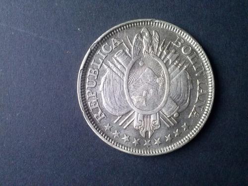 moneda bolivia 50 centavos 1892 plata (c. 2)
