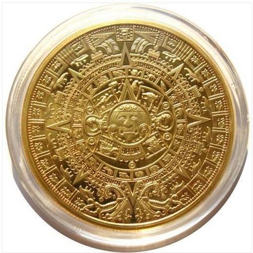 moneda calendario azteca bañada en oro de colección