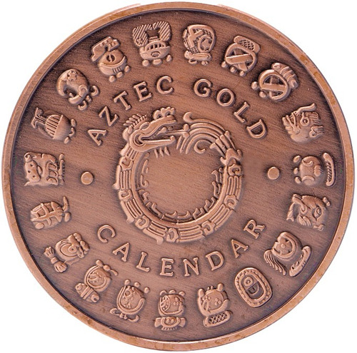 moneda calendario azteca modelo aztek con cápsula protectora