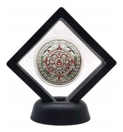 moneda calendario azteca modelo aztek plata en exhibidor 360