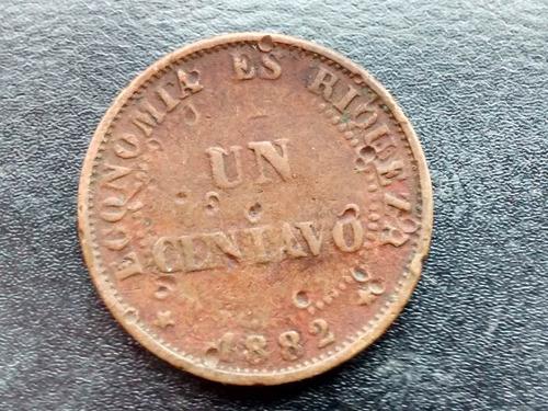 moneda chile 1 centavo de cobre 1882  vf + (197ch