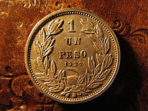 moneda chile $1 un peso 1927 plata .500 muy buena 2,9 cms