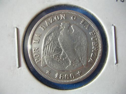 moneda chile- 20 centavos- de plata -año 1866 escasa