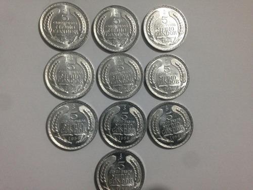 moneda chile 5 pesos 1/2 condor 1956