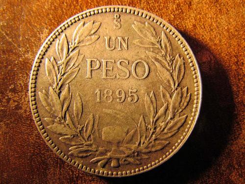 moneda chile un $1 peso 1895 plata 3,5 cms