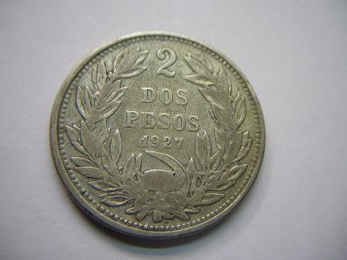 moneda chilena 2 pesos 1927 variedad punto y coma.