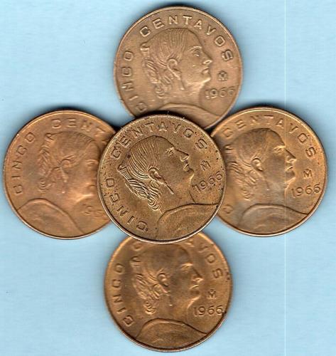 moneda cinco centavos  josefa ortiz grande 1966 brillonu  c5
