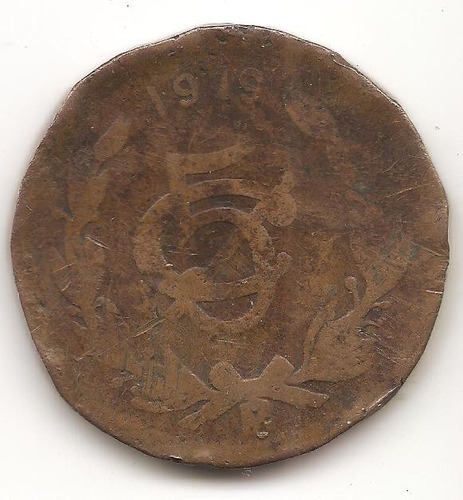 moneda cobre mexicana 5 centavos 1919 rara