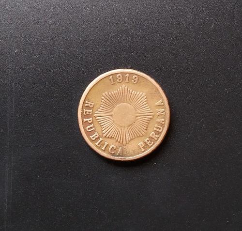 moneda cobre un 1 centavo gordo 1919 peru