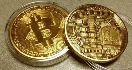 moneda coleccionable bitcoin oro original + estuche