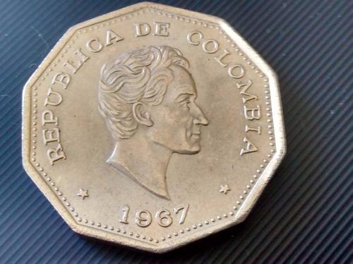 moneda colombia 1 peso 1967  (844z
