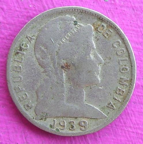 moneda colombia  5 centavos  variante 1939 con el 9 grande