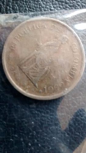 moneda colombia 5 pesos 1980 (514z