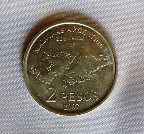 moneda conmemorativa 2 pesos malvinas - 2007 - argentina