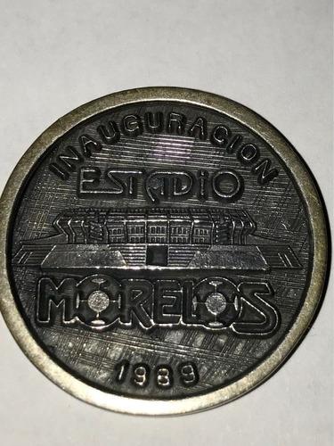 moneda conmemorativa de inauguracion estadio morelos 1989
