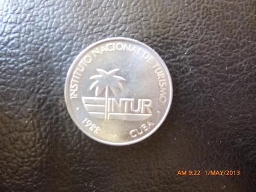 moneda  cuba 5 centavos 1988 instituto nacional de tur (159z
