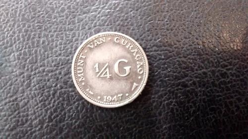 moneda curazao 1/4 gulden 1947 plata  0.45 (1074z