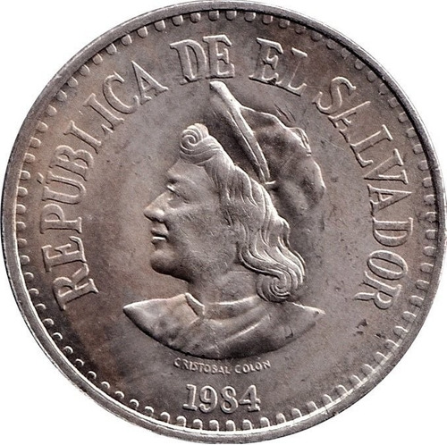 moneda de 1 colon de el salvador - cristobal colon (mo).