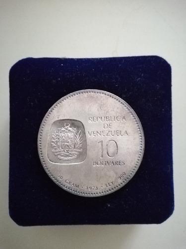 moneda de 10 bolívares 1873-1973 plata ley 900